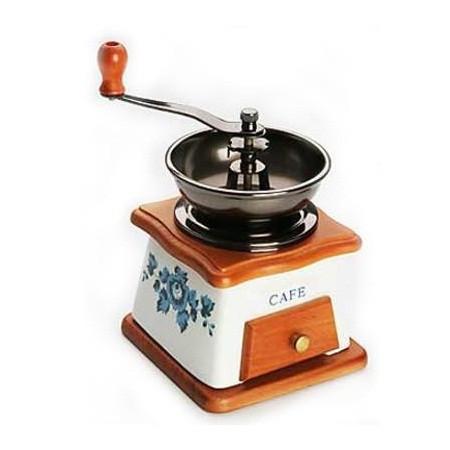 Кофемолка деревянная с керамическим корпусом Цветы