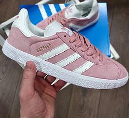 Женские кроссовки Adidas gazelle pink замшевые 30-40рр. Живое фото. Топ качество (Реплика ААА+)