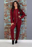 Женский спортивный костюм с капюшоном Батал 01 весна-осень (52 54 56) (цвет бордо) СП, фото 1