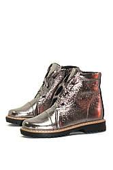 Ботинки детские весенне-осенние серебряные кожаные (10402)