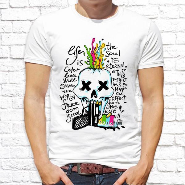 Мужская  футболка Push IT с принтом Череп