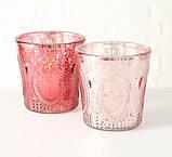 Подсвечник розовый h12см лакированное стекло 1015186, фото 3