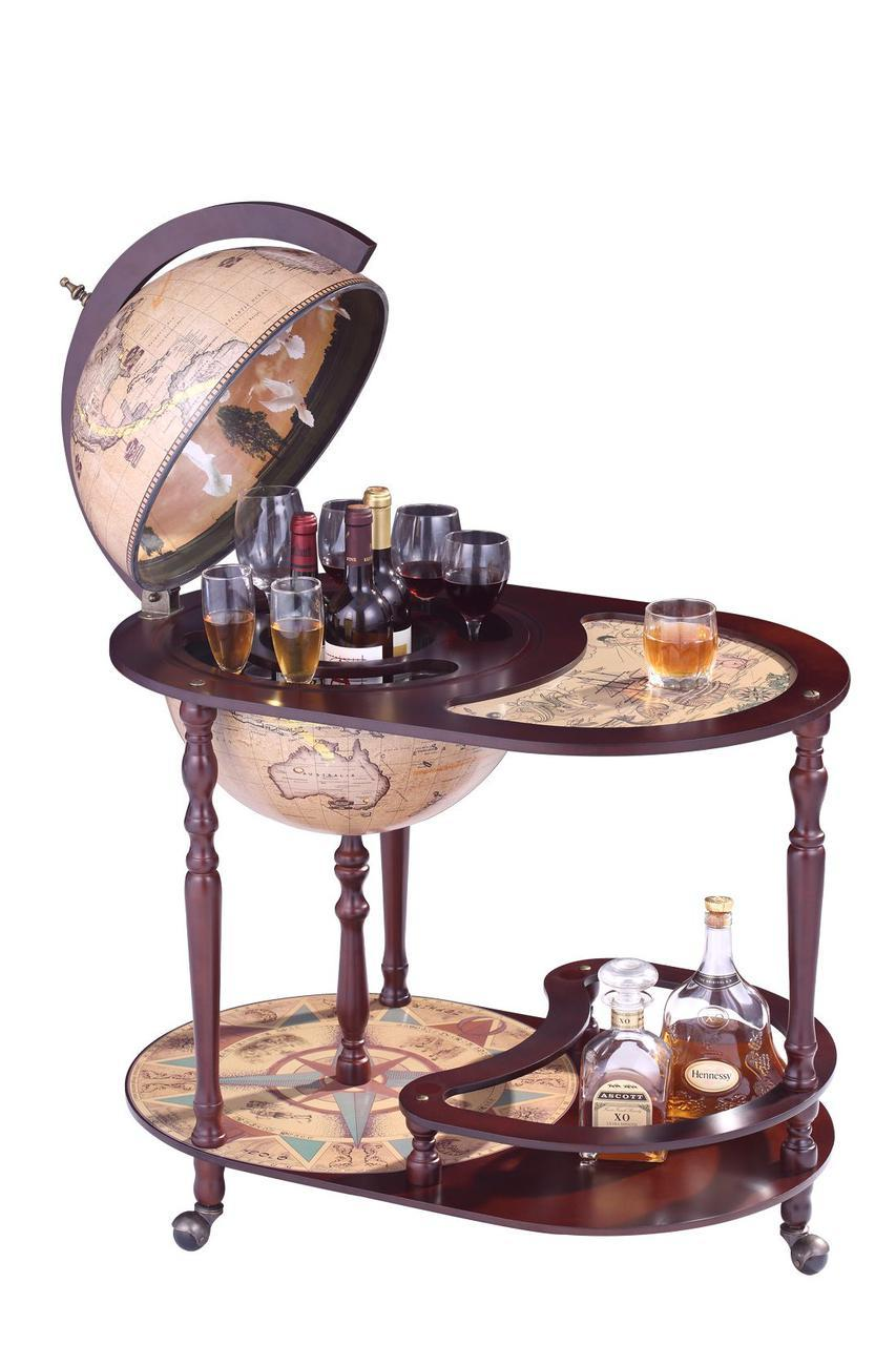 Глобус бар со столиком 420мм-Зодиак 42004N столик глобус-бар, высота 91 см
