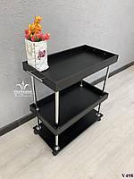 Косметологическая тележка, парикмахерская тележка, столик на колесах. Модель V498 черная, фото 1