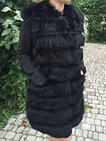 Жилет из натурального меха чёрный., фото 1