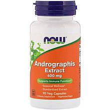 """Экстракт андрографиса NOW Foods """"Andrographis Extract"""" укрепление иммунной системы, 400 мг (90 капсул)"""