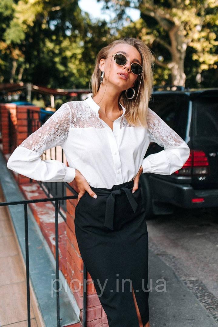 Женская Блузка с гипюром
