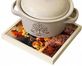 Панно в рамке из светлого натурального дерева с Вашим дизайном (20х20см)