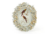 Рамка для фото овальная 11*13см Розы, цвет - мята с золотом, фото 1