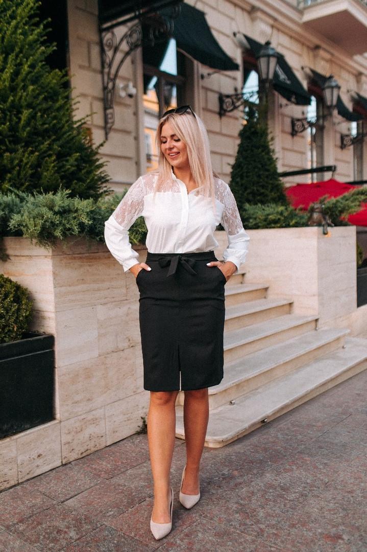 """Офисная юбка-карандаш """"Jacklyn"""" с поясом и карманами (большие размеры)"""
