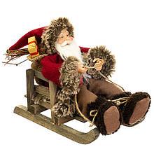 Фигурка новогодняя Санта на санках 29х25 см Uniсorn Studio 500035NC статуэтка Дед Мороз фигура