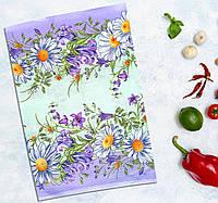 """Полотенце кухонное """"Фиолетовые ромашки"""" 30 х 45 см (салфетка кухонная) Хлопок, фото 1"""