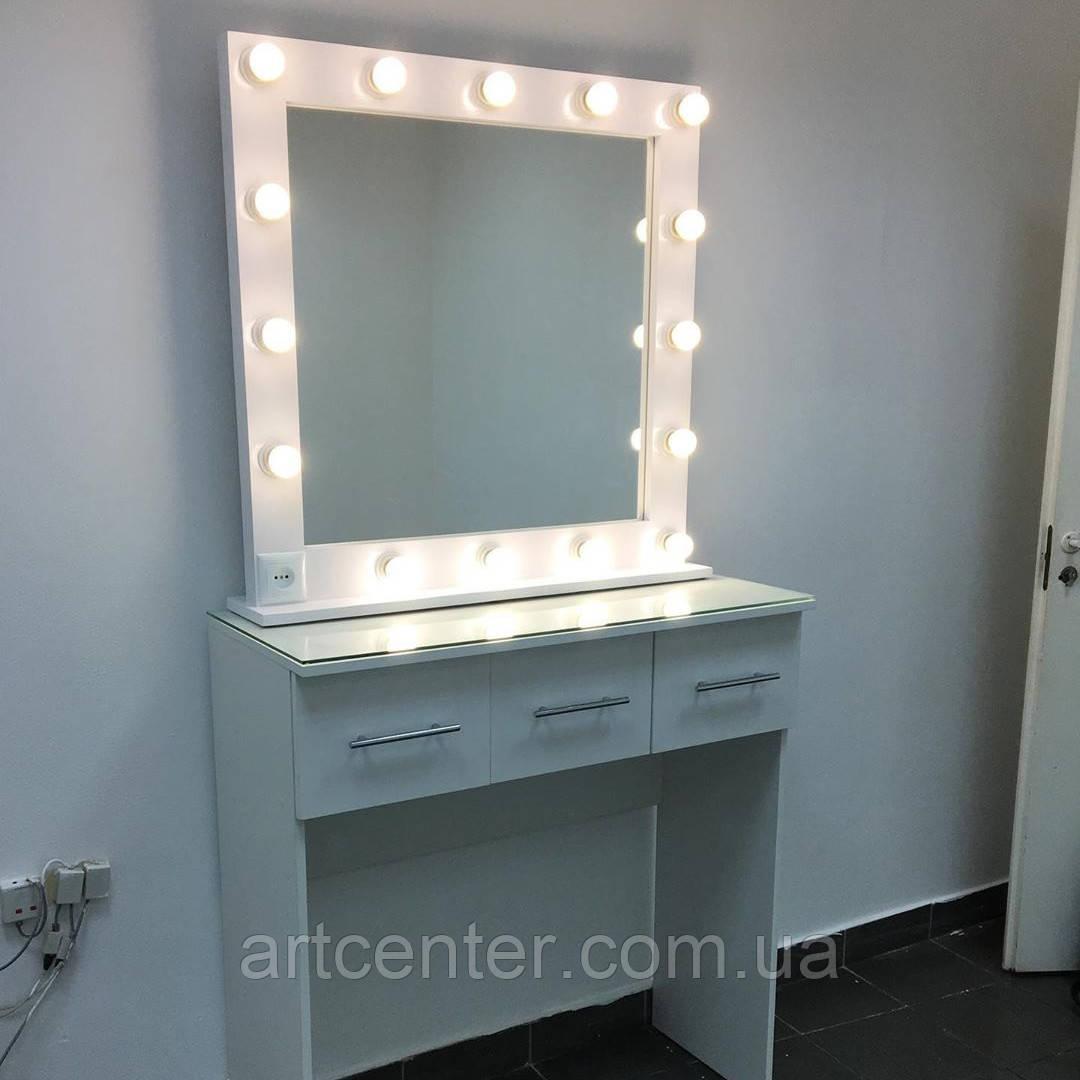 Туалетный столик с тремя ящиками и съемным зеркалом