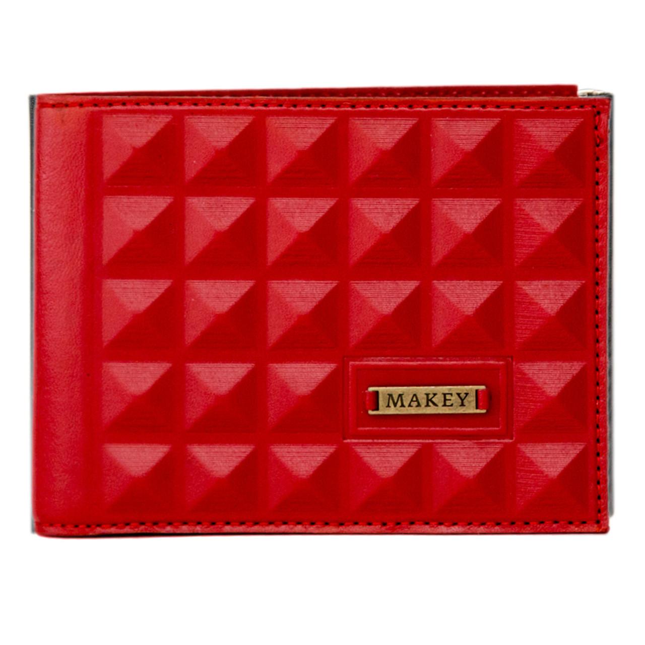 """Кошелек женский кожаный с карманом для монет """"Геометрия"""" (Макей). Цвет красный"""