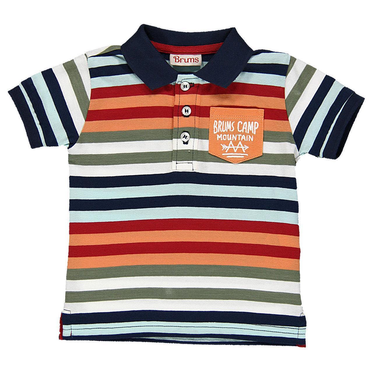 Детское поло для мальчика BRUMS Италия 141BDFN009 черн-оранж-