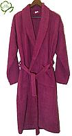 Велюровый женский халат, фуксия, большого размера  100% Хлопок Турция