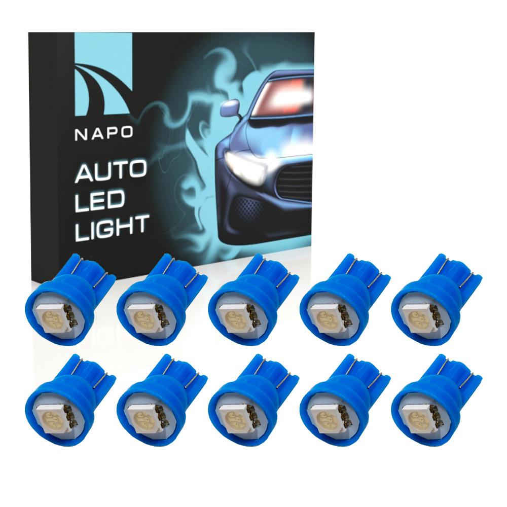 Автолампа диодная T10-5050-1smd, комплект 10 шт, W5W, T10, цвет свечения синий