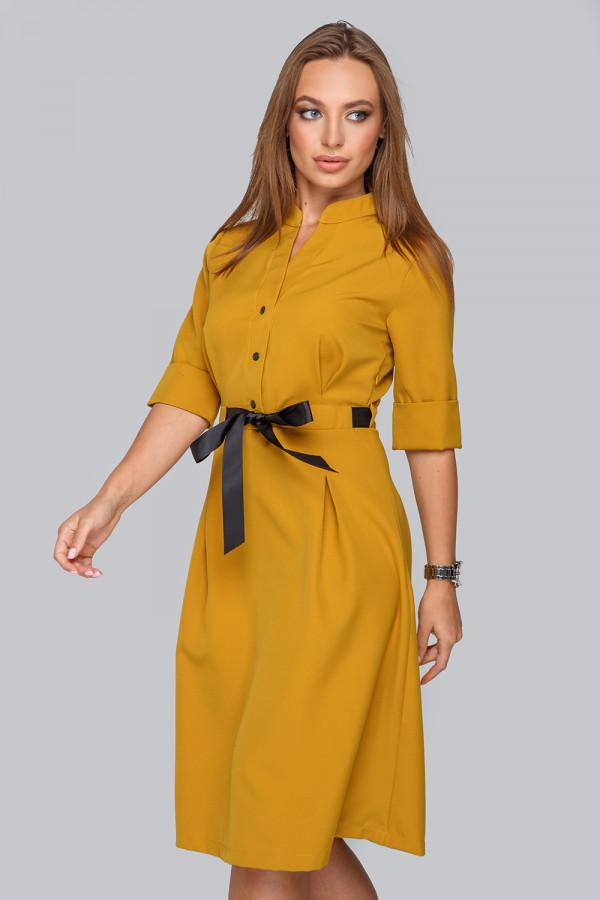 Платье плиссе с рубашечным воротником