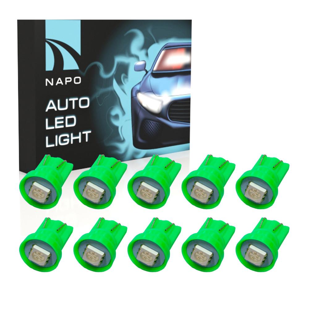 Автолампа диодная T10-5050-1smd, комплект 10 шт, W5W, T10, цвет свечения зеленый