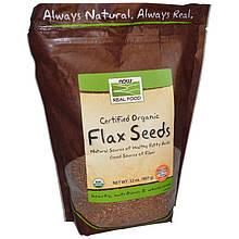 """Насіння льону NOW Foods, Real Food """"Certified Organic Flax Seeds"""" сертифіковане, органічне, цілісне (907 р)"""