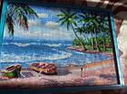 Алмазная вышивка лодки на пляже 45х35 см полная выкладка, фото 2