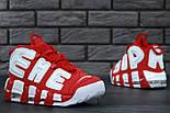 """Мужские кроссовки Nike Air More Uptempo """"Supreme"""" Red/White 37-45рр. Живое фото (Реплика ААА+), фото 7"""