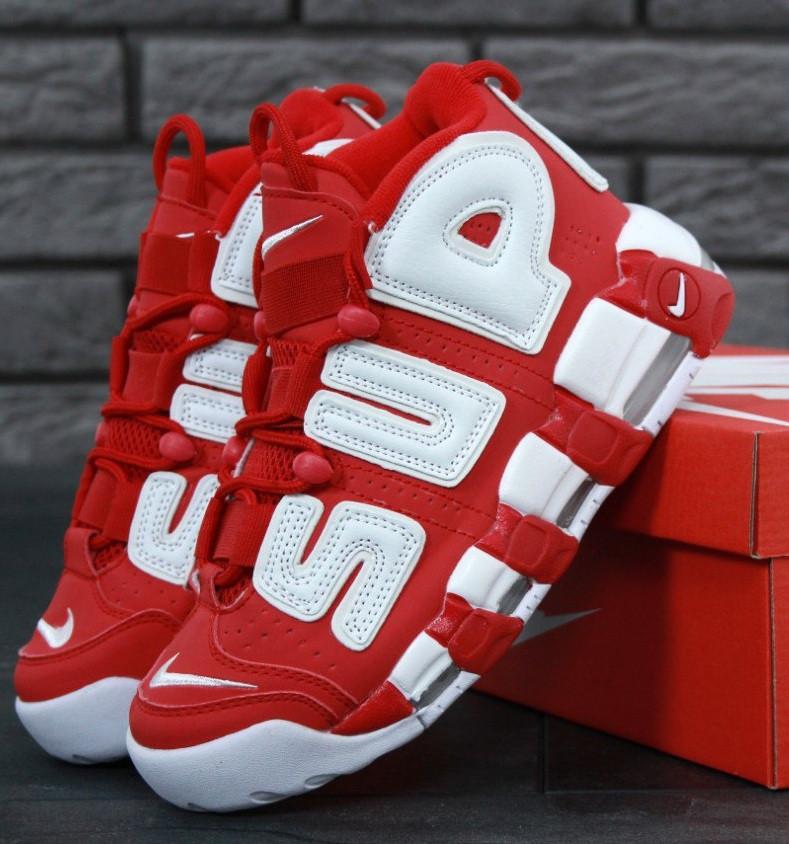 """Мужские кроссовки Nike Air More Uptempo """"Supreme"""" Red/White 37-45рр. Живое фото (Реплика ААА+)"""