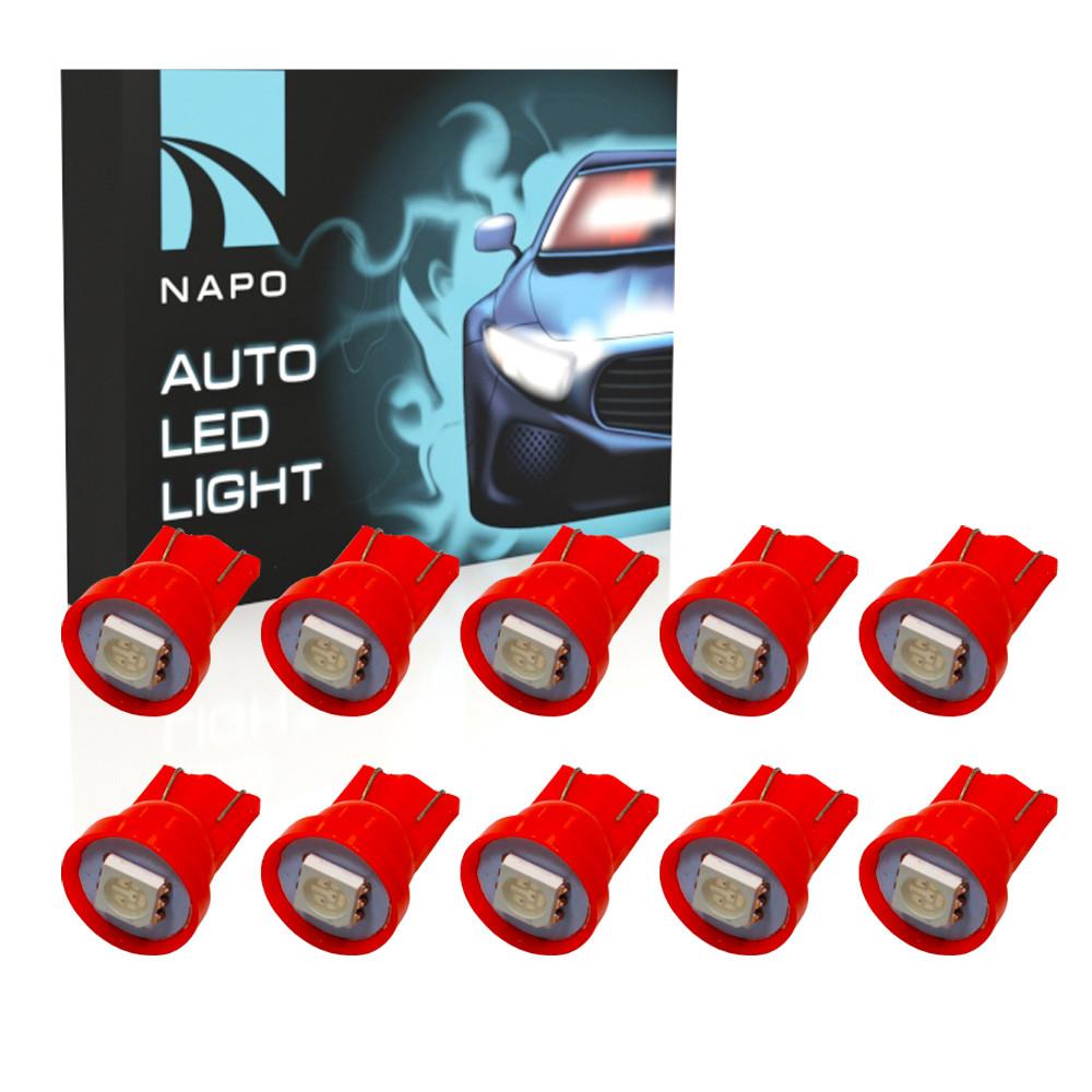 Автолампа диодная T10-5050-1smd, комплект 10 шт, W5W, T10, цвет свечения красный