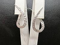 Срібні сережки з алмазною гранню. Артикул СБ436(А)З, фото 1