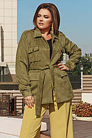 Женская куртка на осень \ весну из замша на дайвинге батал