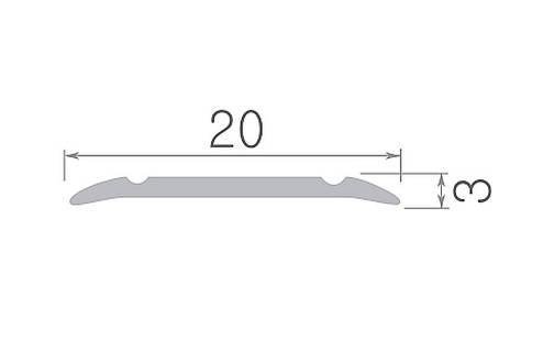 Алюминиевый профиль арт. 240 03/золото 24х3х1800 мм, фото 2