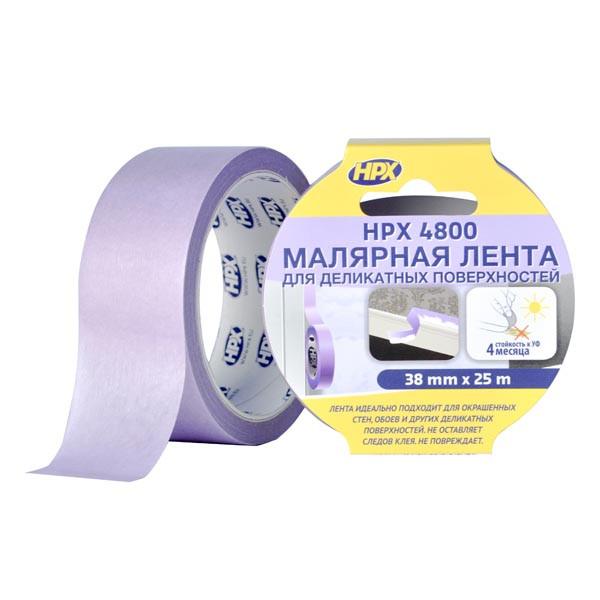"""HPX 4800 - """"Безопасное снятие"""" - малярная лента (скотч) для деликатных поверхностей и четких контуров - 38мм х 25м"""