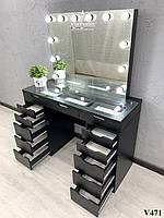 Черный визажный стол со стеклянной столешницей Модель V471, фото 1