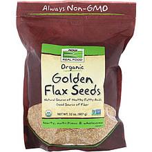 """Золотые семена льна NOW Foods, Real Food """"Organic Golden Flax Seeds"""" органические, цельные (907 г)"""