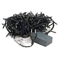 🔝 Гирлянда новогодняя на 300 лампочек LED, белая подсветка, чёрный кабель, с доставкой по Украине | 🎁%🚚