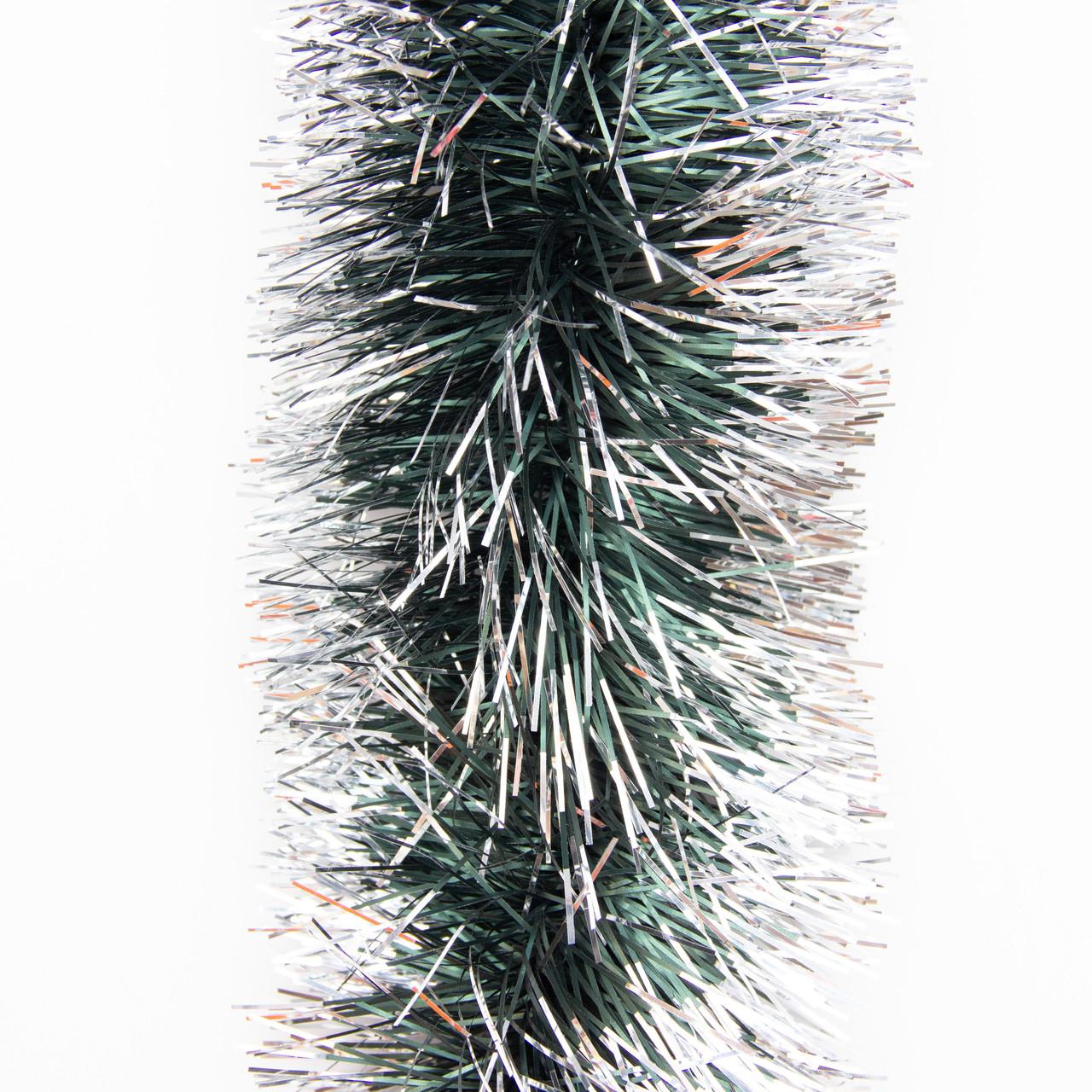 Новогоднее украшение - мишура, 200*9 см, ПВХ, зелено-серебристый (ГК-90/2-5)