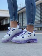 Женские кроссовки Balenciaga Triple S Violet (кожа+текстиль)