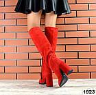Демисезонные женские сапоги красного цвета, натуральная замша  35 ПОСЛЕДНИЙ РАЗМЕР, фото 2