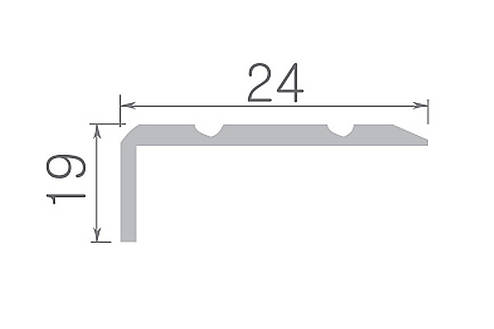 Алюминиевый профиль арт. 324 01/серебро 24х19х1800 мм, фото 2