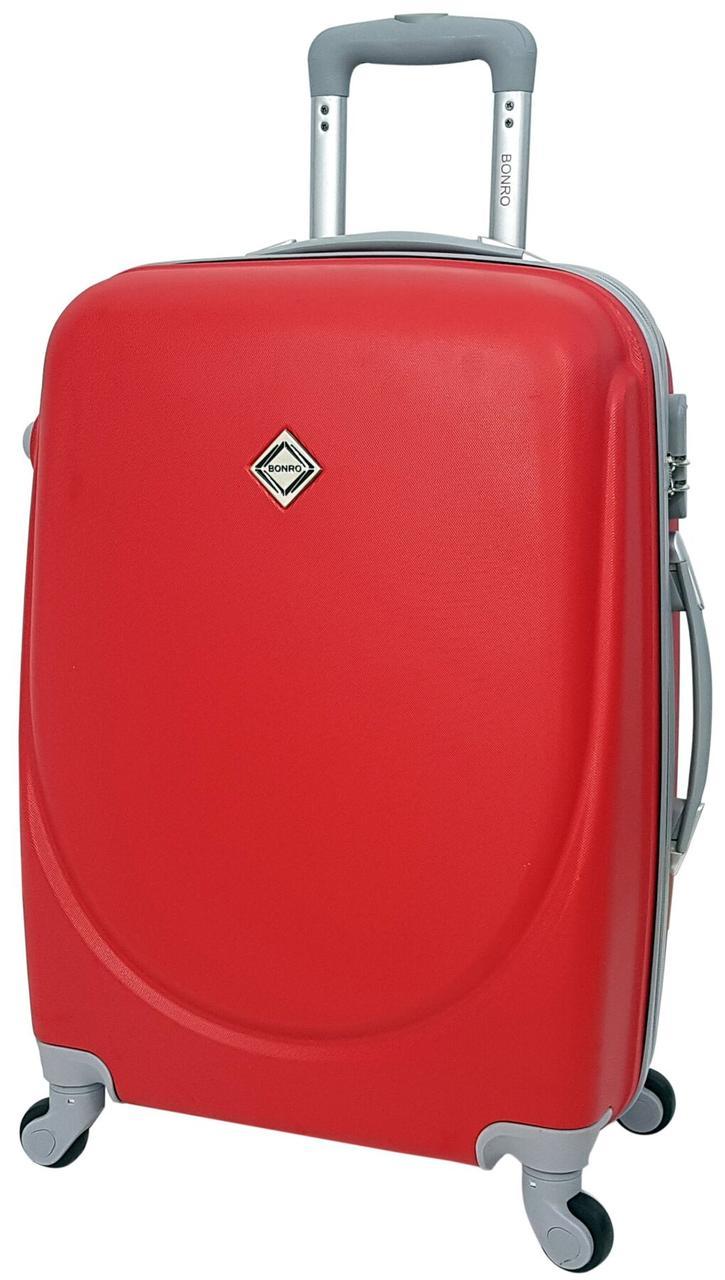 Пластиковый дорожный чемодан на колесах Bonro Smile маленький бордовый