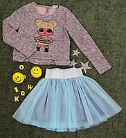 Комплект нарядный юбка+кофта, Ричи, размер 128-152, пудра+голубой, фото 1