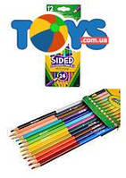 Цветные карандаши для творчества, двусторонние, 12 цветов, 68-6100