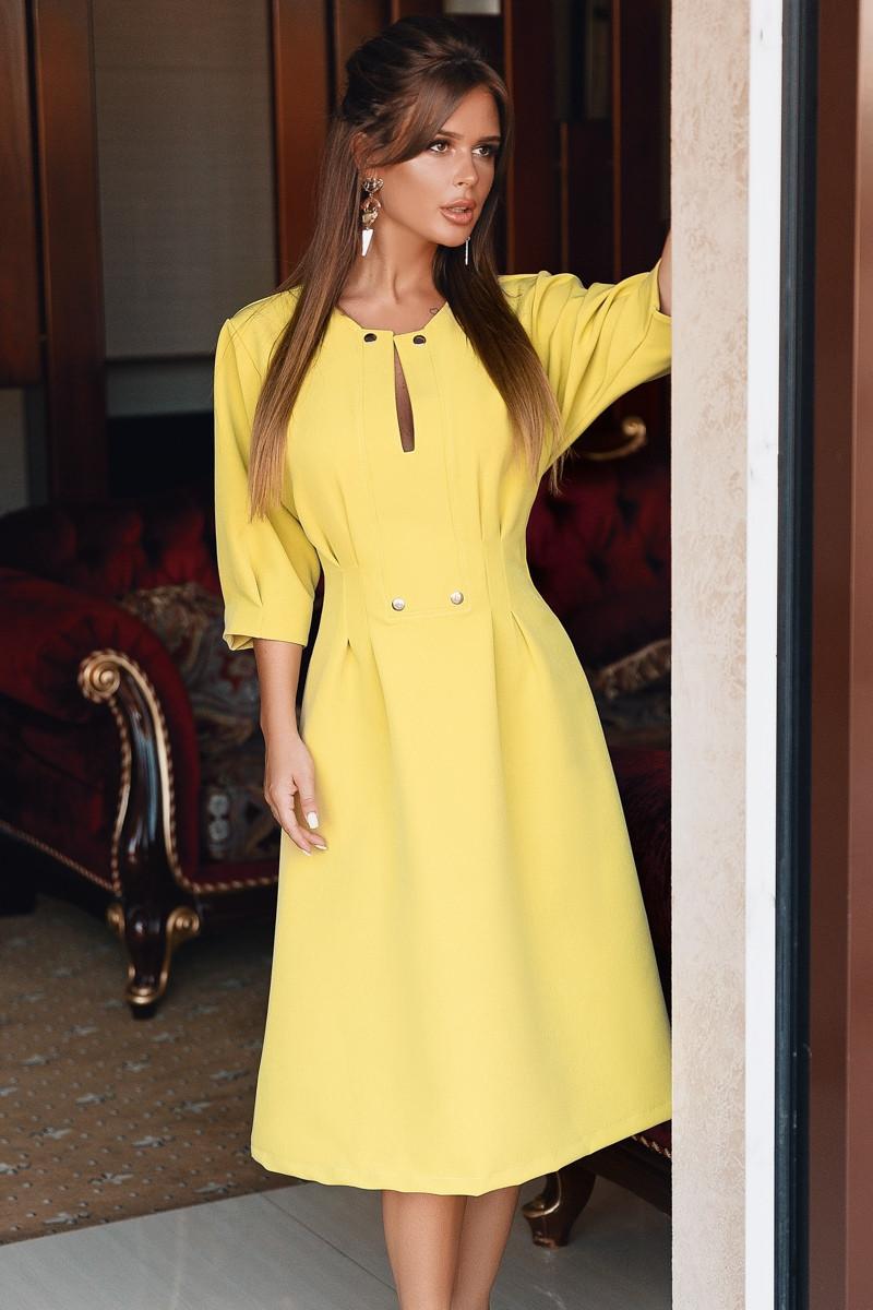 Женское стильное платье из креп - костюмки с 42 по 46 рр