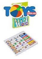 """Цветные карандаши """"Mini kids"""", белые, с животными, 8 цветов, 3678"""