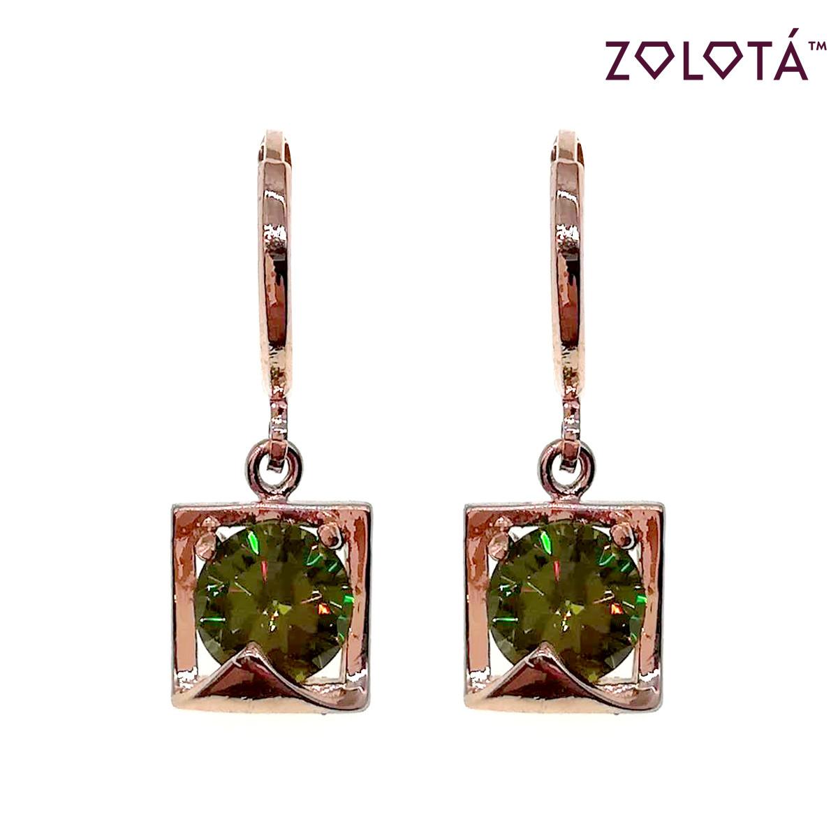 Серьги Zolota с зелеными фианитами (куб. цирконием), из медицинского золота, в позолоте, ЗЛ00597 (1)