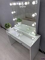 Туалетный столик со стеклянной столешницей. Модель V496 белый, фото 1