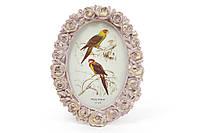 Рамка для фото овальна 15*19.5 см Троянди, колір - рожевий з золотом, фото 1