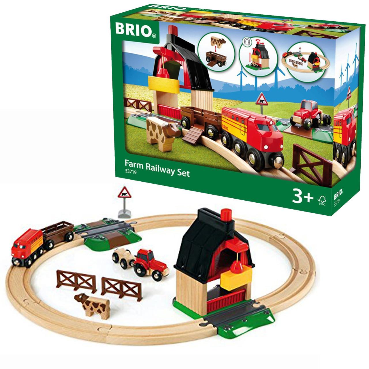 Железная дорога BRIO Деревянная ж/д с переездом и мини-фермой 33719