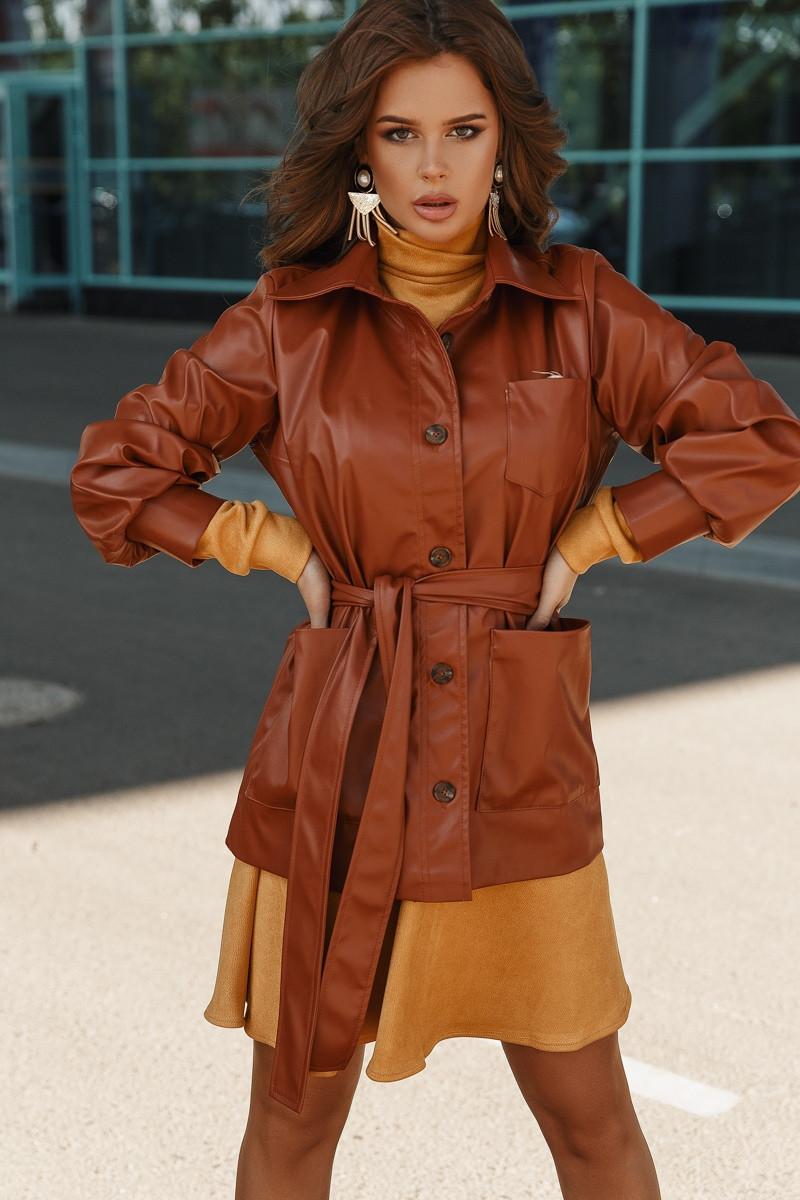Женская демисезонная курточка из эко кожи с 42 по 46 рр
