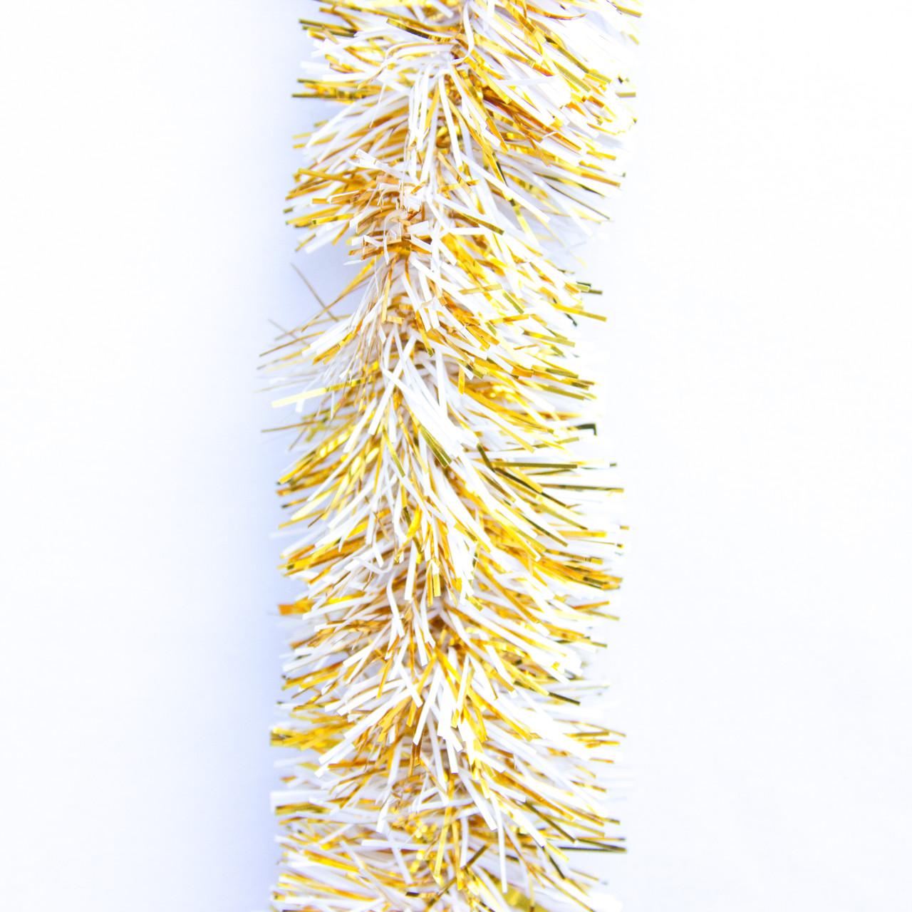 Новогоднее украшение - мишура, 200*5 см, ПВХ, золото-белый (ГПС-50/2-4)